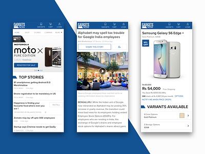 Gadgets Now Mobile Web article home page mobile web web design web ux ui tech stories shopping news gadgets