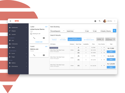 Oyo Rooms Dashboard, Booking Concept new booking oyo bookings hotel call material ux ui web dashboard