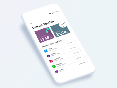 Current Session for Data Sharing App time duration data used mobile data connection session wifi android ios flat ui home screen