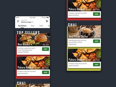 Concept: Online Ordering Menu chaayos tea food delivery top sellers breakfast snacks order luxury menu dining ui