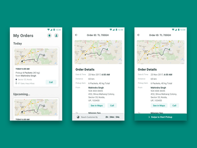 Order Pickup & Delivery Flow uber pickup orders storage ios android app interface timer map driver truck transportation ux ui design