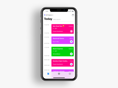 Time tracking projects on iOS time tracking automation translucent iphone x feed toggl got projects today home timers flat ios ux ui