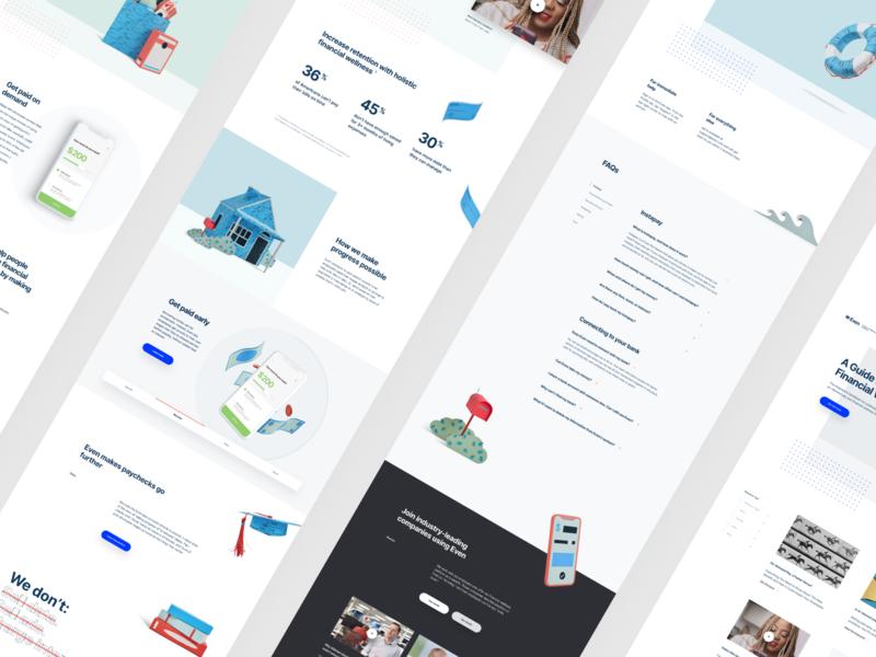 Even.com - Website Redesign app finance paper illustration website web design ux ui minimal layout design clean