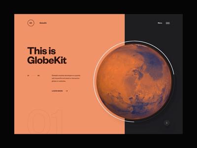 GlobeKit Website Preview - Menu Transition interactive clean design layout minimal ux ui website web design globe animation transition webgl interface