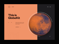 GlobeKit Website Preview - Menu Transition interactive clean design layout minimal ux ui website web design globe animation transition webgl interface