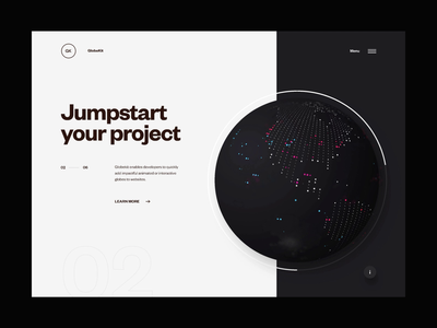 GlobeKit Website Refresh - FAQs Transition faq website webgl web design ux ui transition minimal layout interface interactive globe design clean animation