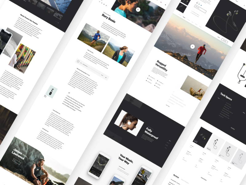 Jaybird 🎧 - PDP, Athlete and About pages layout website web design ux ui store shop headphones minimal ecommerce design clean