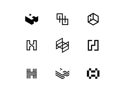 H Letter Icon Exploration letter symbol mark icon logo connect space room construction architecture real estate