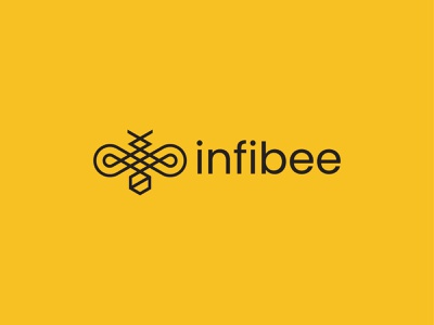 Infibee simple food honey insect symbol mark icon logo bee infinity