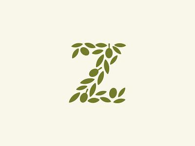 Z / Olives tree symbol mark icon logo letter z leaf olive
