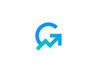 Growius arrow letter g symbol mark icon logo dashboard chart growth