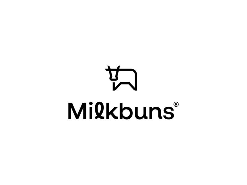 Milkbuns cotton cow milk simple animal symbol mark icon logo underwear