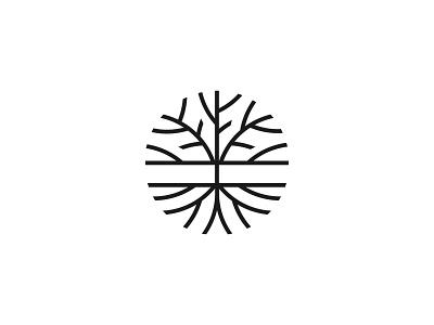 Tree roots simple symbol mark icon logo nature roots tree