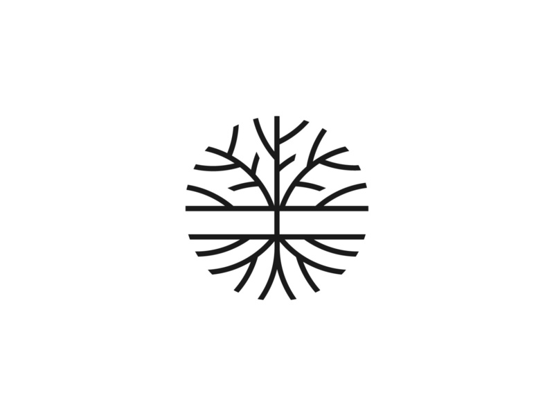 Tree roots simple symbol mark icon logo nature roots tree