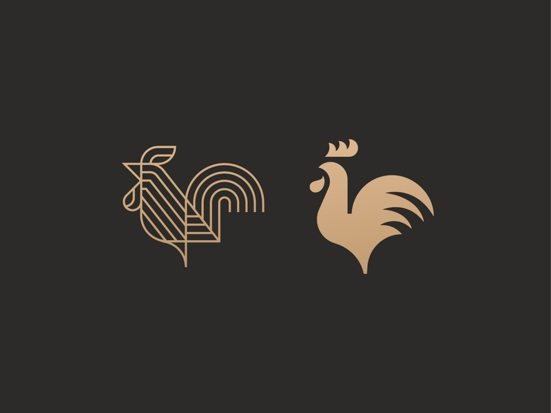 Roosters simple luxury animal symbol mark icon logo bird cock rooster
