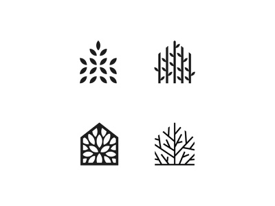 Tree house symbol mark icon logo grow forest woods nature branch leaf house tree