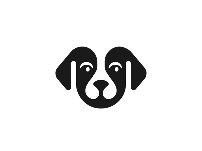 Puppy / Dog pet negativespace symbol mark icon logo animal dog puppy