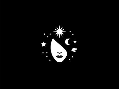 Panta Rei Astro portrait head symbol mark icon logo astrology rei panta spark star moon sun planets woman