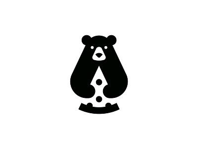 Pizza Bear animal symbol mark icon logo bear slice piece food pizza