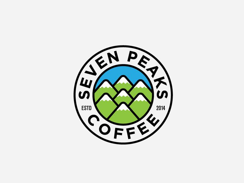 7 peaks coffee commpany logo art design seven peaks coffee company