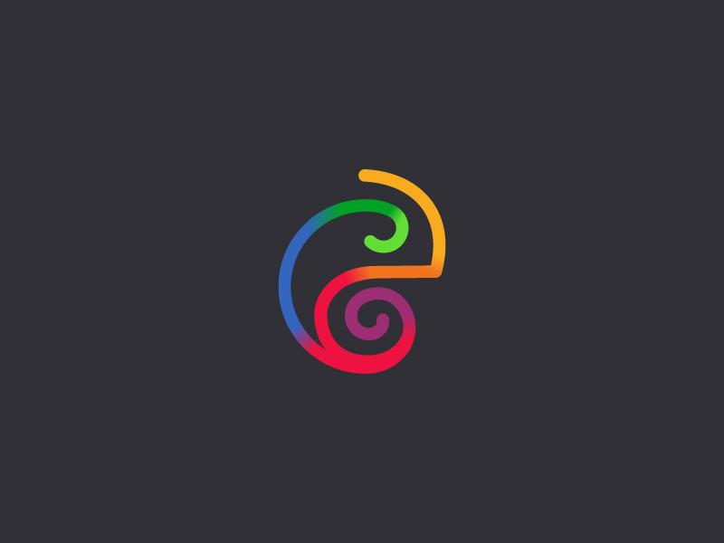 Chameleon logo colorful colors animal icon chameleon