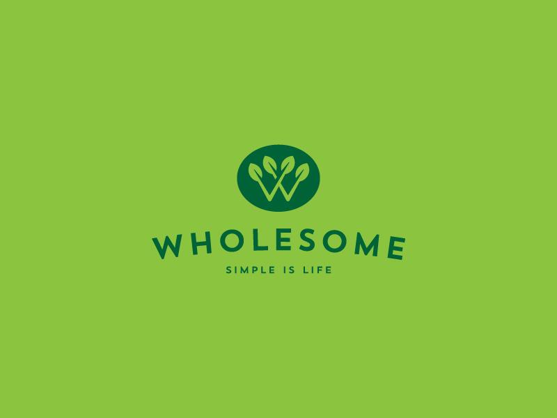 Wholesome life simple leaf logo w food organic