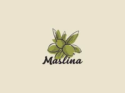 Maslina illustration icon leaf branch green logo olive olives