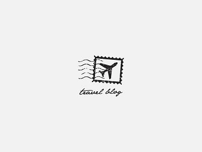 Travel Blog plane airplane stamp icon logo blog travel