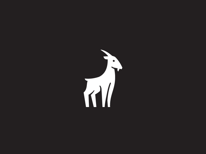 Goat white black simple icon logo animal goat