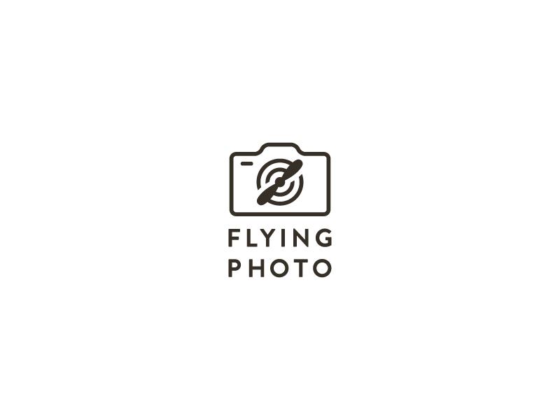 Flying Photo lense camera propeller icon logo photography photo fly