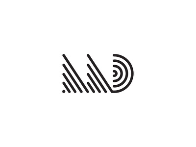 MD monogram icon white black lines letter logo d m