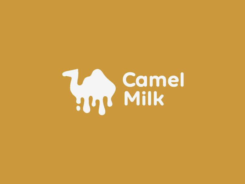 Camel Milk desert icon logo dairy drop white milk camel