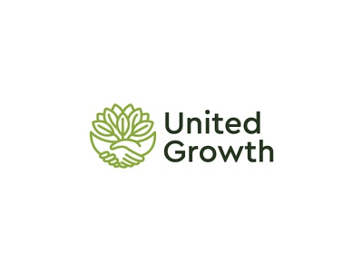 United Growth raw healthy icon logo roots hands green garden growth united