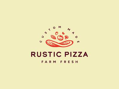 Rustic Pizza icon logo fresh farm vegetable tomato pizza rustic