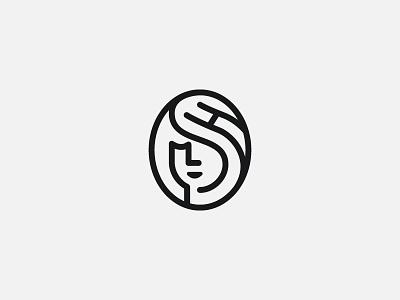 SH Portrait icon symbol mark logo woman face initials h s portrait