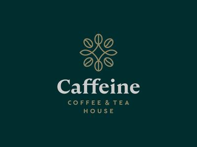 Caffeine symbol icon mark logo caffeine house leaf tea coffee