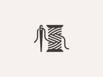 Needle & Thread symbol mark icon logo clothing stitch sew thread needle