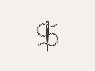 S Thread symbol mark icon logo s clothing stitch sew thread needle