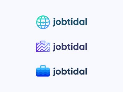 Jobtidal symbol mark icon logo career wave suitcase search tidal globe global job