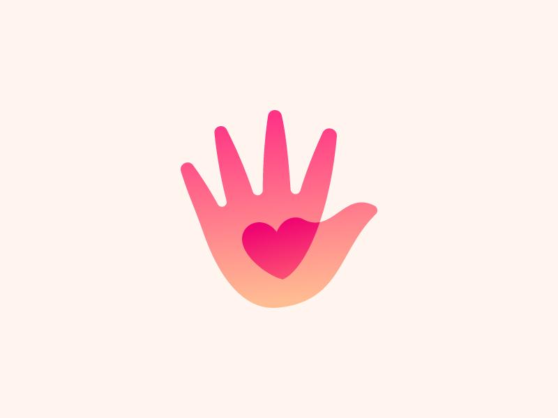 Hand / Heart mark symbol icon logo kids love heart hand