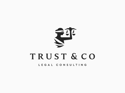 Trust & Co trust judge consulting legal lawyer law justice lady symbol icon mark logo