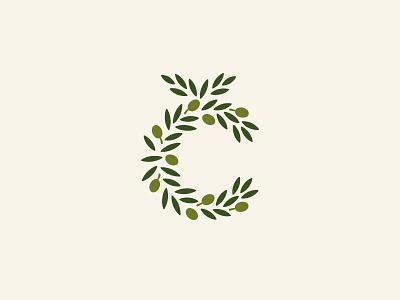 Č Monogram / Olive Branch leaf tree letters oil monogram symbol mark icon logo c letter branch olive