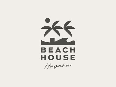 Beach House Havana letters script symbol mark icon logo sea sand sun palm havana house beach