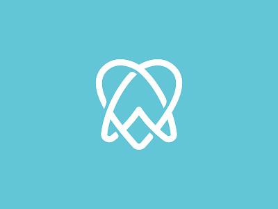Dentist Love teeth tooth simple symbol mark icon logo lines heart love dental dentist