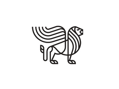 Winged Lion line big king animal symbol mark icon logo cat wings lion winged