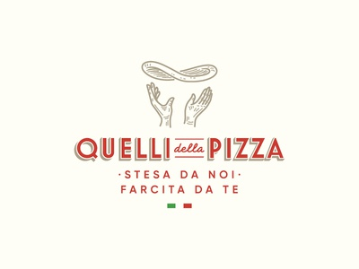 Quelli della Pizza artisan food symbol mark icon logo hands hand dough pizza
