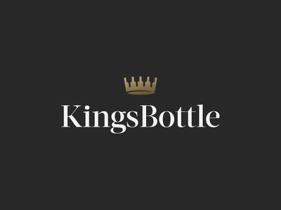 Kings Bottle black wine luxury letters symbol mark icon logo gold bottle crown king