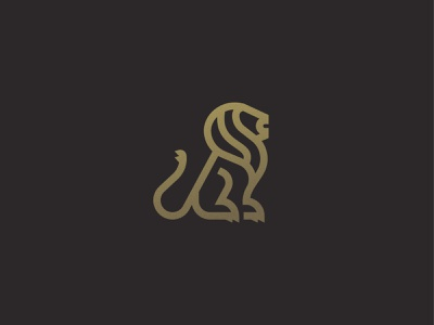 Gold Lion cat lion king lion gold animal symbol mark icon logo