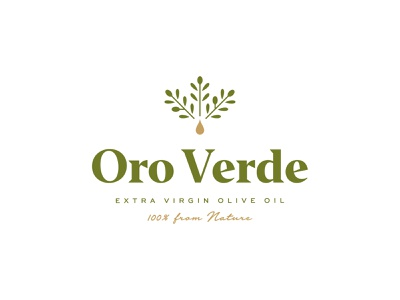 Oro Verde symbol mark icon logo nature tree leaf olive branch drop verde oro virgin extra oil olive