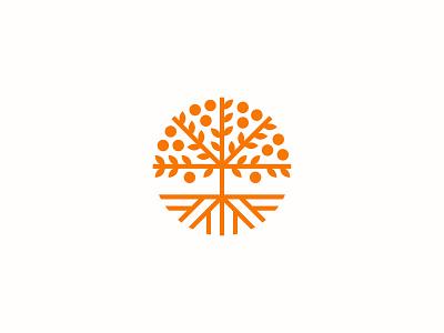 Orange Tree symbol mark tree icon logo orchard root fruit leaf brach orange